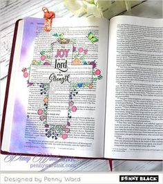 Bible journaling with Penny Black stamps- click through for full supplies and instructions. Art Journaling, Bible Journaling For Beginners, Bible Study Journal, Scripture Journal, Prayer Journals, Bible Drawing, Bible Doodling, Scripture Art, Bible Art