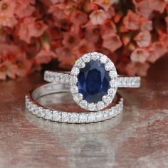 Bridal Set Natural Sapphire Engagement Ring by LaMoreDesign