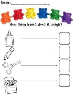 I think this activity is possible without the worksheet as well. You can set up a math center for children to compare the weight of an object to a non standard form of measurement like the counting bears that are pictured. Measurement Kindergarten, Measurement Activities, Math Measurement, Kindergarten Math, Teaching Math, Math Activities, Math Games, Preschool Worksheets, Teaching Ideas