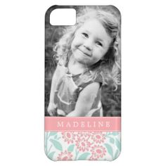 Mint Coral Floral Damask Personalized Photo Case For iPhone 5C.  $44.95
