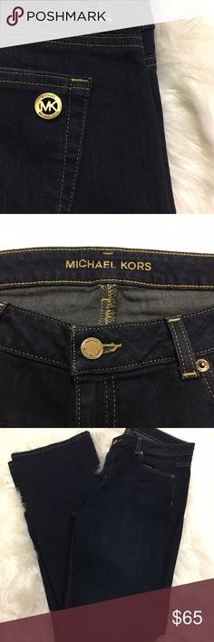 "Michael Kors bootcut jeans Like new!  Michael Kors bootcut jeans.  Dark wash.  Size 8.  31"" inseam (approx).  These will be your new favorite go-to jeans....when you have to go pick up a sick kid at school and you can't go in your pajamas.  They looked at you funny last time. Michael Kors Jeans Boot Cut"