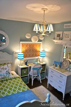 Seaside Interiors: Going Blue & Green {Girls room redo}....inexpensive desk