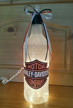Harley Davidson Lighted Wine Bottle