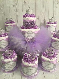 Princess Tutu Diaper Cake Centerpiece Set for Baby Shower, Girl Diaper Cake…