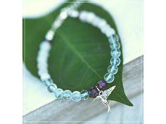 Náramek s Měsíčním kámenem, Aqua Aurou & Ametystem  Stříbrný přívěšek ve tvaru kolibříka Summer Bracelets, Linux, Aqua, Names, Green, Jewelry, Water, Jewlery, Jewerly
