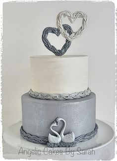 Small Silver Wedding Cake Trio 3 - Cake by Angelic Cakes By Sarah