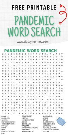 Free Printable Pandemic Word Search for kids or adults. This word search is a bit challenging with words in every direciton! Features all those pandemic words and activities we've been using to handle this challenging time! #freeprintables #wordsearch #freewordsearch Kids Word Search, Free Word Search, Word Search Games, Word Search Puzzles, Word Puzzles, Activities For Adults, Printable Activities For Kids, Work Activities, Free Printables