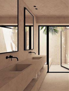 A Minimal Summer House in Balearic Islands, Spain by OOAA Architects - idea of . - A Minimal Summer House in Balearic Islands, Spain by OOAA Architects – home interior design idea - Bad Inspiration, Bathroom Inspiration, Bathroom Ideas, Bathroom Designs, Bathroom Inspo, Zen Bathroom, Minimal Bathroom, Concrete Bathroom, Bathroom Trends