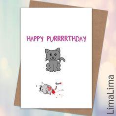 Happy Purrrthday Cat Birthday Card £3.25 - Free UK Delivery #BirthdayCard #HumourBirthdayCards http://limalima.co.uk/product/happy-purrrrthday/