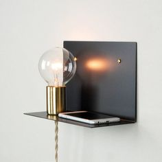 Plug-in Wall Sconce Shelf with Brass Cup & Steel by HopeValleyHill