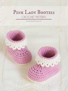 Hopeful Honey | Craft, Crochet, Create: Pink Lady Baby Booties - Free Crochet Pattern