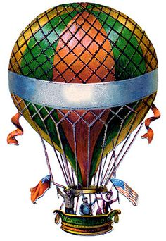 Antique Graphic - Hot Air Balloon - Steampunk - The Graphics Fairy