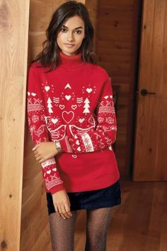 Buy Red Lovebird Roll Neck Jumper online today at Next: United States of America