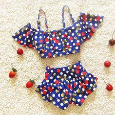 b917dc261748c Children's swimsuit girls cherry bebek bikini baby girl swimwear little girls  swim swimsuits for children girls swimming clothes
