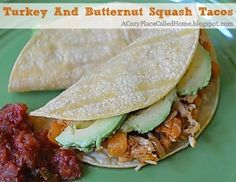 These Turkey And Butternut Squash Tacos are a healthy alternative to traditional tacos....plus they are gluten free! acozyplacecalledhome.blogspot.com #glutenfree #maindish #recipe