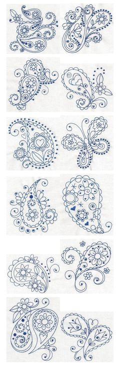 Paisley Blues Redwork machine embroidery designs by Designs by JuJu: Embroidery Stitches, Embroidery Patterns, Hand Embroidery, Machine Embroidery, Paisley Embroidery, Piping Patterns, Quilled Creations, Doodles, Blue Tattoo
