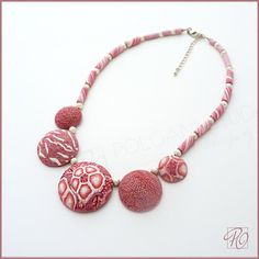 Pink Necklace Hollow Beads Polymer Clay Statement by PolganiStudio