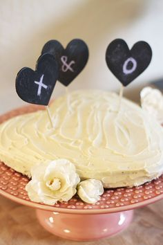 #DIY Valentine Cake Topper. Chalkboard hearts allow you to write fun and cheeky messages on your desserts! #VDay
