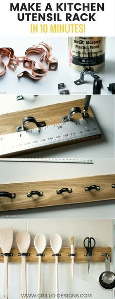 DiY rustic utensil rack for the kitchen | Easy 10 minute storage project with a board and some U-brackets