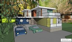 FLW container house (My dream home) Prefab Container Homes, Shipping Container Home Designs, Building A Container Home, Container Buildings, Storage Container Homes, Container Architecture, Container House Design, Shipping Containers, Sims