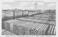 Lumber awaiting its seasoning period in the dry kilns, Cross