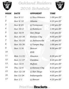Printable Oakland Raiders Schedule - 2016 Football Season