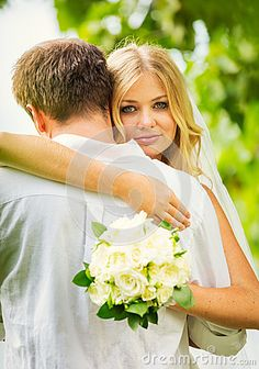 Bride and Groom, Romantic Newly Married Couple Embracing, by Epicstock, via Dreamstime