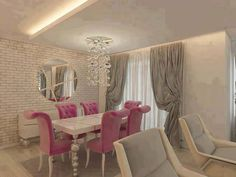 Pembe Gri Tasarımlı Yemek Odası