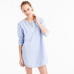Collarless striped cotton nightshirt