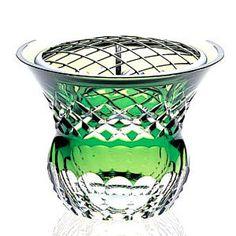皇室御用品カガミクリスタル花器・花瓶ローズボール(フラワーネット付き)(緑)ガラス(硝子)新築祝い結婚祝い開業祝い開店祝いのプレゼント・贈り物・ギフトに!業務用フラワーベース