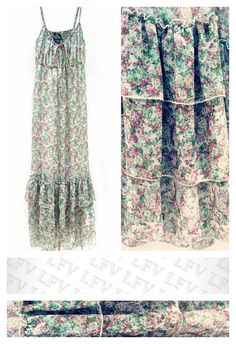 Long Summer Maxi, 3 Ruffle Layer Bottom, Floral Design, Empire High Waist, Vintage Dress Slip Gown, Gypsy, Bohemian, Made in India