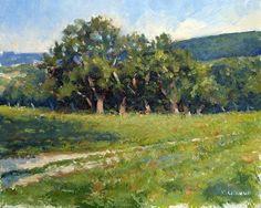 Les Chênes Huile sur Panneau - 27 x 22 cm