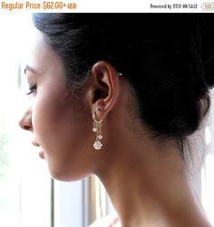 SALE 15% Pearl hoop earrings Unique hoop earrings by LioraBJewelry