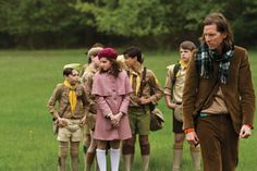 suzy moonrise kingdom - pink coat and white knee highs with a burgundy beret