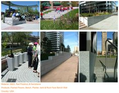 Project (4) Material: G603, Red Porphyry & Sandstone Products: Flamed Pavers, Bench, Planter, kerb & Rock Face Bench Wall Country: USA