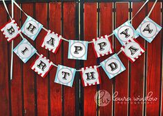 "Happy Birthday Sign - Nice idea but for this party I'd use neutral colors to give it an ""old timey"" feel - Maybe Burlap? Cowgirl Birthday, Cowgirl Party, 1st Boy Birthday, First Birthday Parties, Birthday Party Themes, Birthday Ideas, Cowboy Theme, Printable Birthday Banner, Diy Birthday Banner"