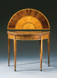 A FEDERAL INLAID MAHOGANY DEMI-LUNE CARD TABLE NEW YORK CITY, 1800-1810