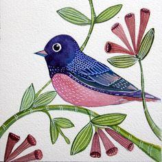 Purple Pink Bird / Original Art / Watercolor by sublimecolors