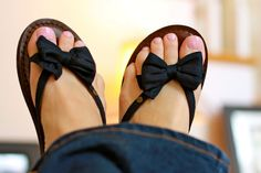 My favorite flip flops! I really like the bows and in a dark blue or grey they would look great for your wedding. :D
