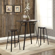 winsome wood halo 3pc pub table set with 2 vback stools pub table sets display case and products