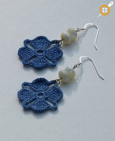 """The location where building and construction meets style, beaded crochet is the act of using beads to decorate crocheted products. """"Crochet"""" is derived fro Crochet Earrings Pattern, Crochet Jewelry Patterns, Bead Crochet, Crochet Accessories, Crochet Motif, Crochet Flowers, Crochet Necklace, Crochet Jewellery, Crocheted Lace"""