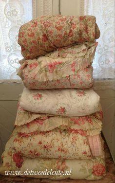 Vintage textile; Whole cloth eiderdown coverlets
