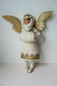 Vintage inspirierte Christbaumschmuck aus watte, Engel mit Muff