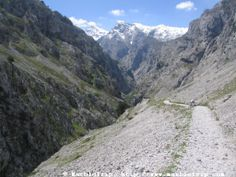 Cares hike, the divine gorge in Peaks of Europe mountains, Asturias.