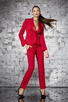 A festive spin on the traditional pant suit. Perfect for desk to office holiday party - The red Tuxedo Jacket and Slim Pant. Exclusively at New York and Company.
