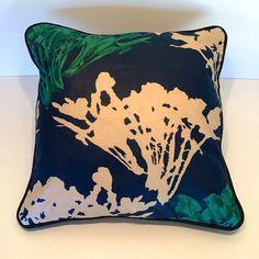 Vintage Liberty Garden Market, Leaf lettuce on Navy blue ,fabric cushion Cushion Fabric, Garden Cushions, Fabric Samples, Christmas Fabric, Milk Jug, Liberty, Fairy Lights, Cotton Fabric, Allotment