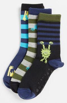 Nordstrom 'Peeking Monster' Crew Socks (3-Pack) (Toddler Boys & Little Boys) | Nordstrom