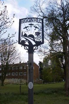 The name means either 'hill next to the dwelling,' or 'hill belonging to Bygge,'… Pub Signs, Name Signs, Shop Signs, Town Names, English Village, Sign Painting, Battle Of Britain, Decorative Signs, Old London