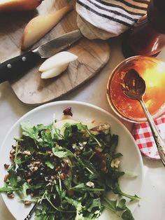 NINE + SIXTEEN: recipe   grain salad with arugula, pecans, blue cheese and apricot vinaigrette