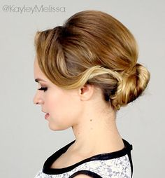 This retro updo was inspired by dianna agron's hairstyle. the sweeping bangs and pretty, coiled bun are perfect for a vintage-inspired Retro Hairstyles, Bun Hairstyles, Wedding Hairstyles, Dianna Agron, Kayley Melissa, Georgia, Retro Updo, Sweeping Bangs, Bouffant Hair